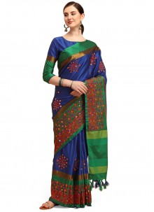 Cotton Blue Embroidered Traditional Saree