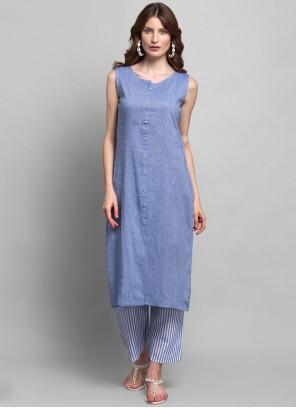 Cotton Blue Fancy Party Wear Kurti
