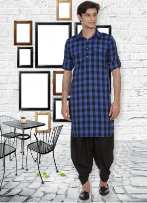 Cotton Blue Kurta Pyjama