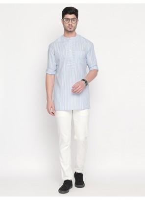 Cotton Blue Plain Kurta