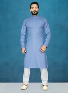 Cotton Blue Plain Kurta Pyjama