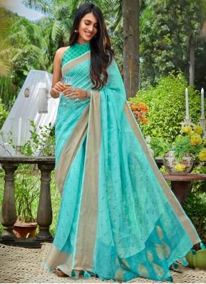Cotton Blue Print Classic Saree