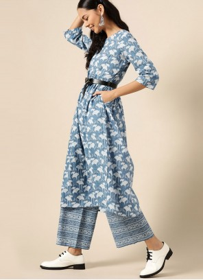 Cotton Blue Print Designer Kurti