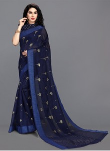 Cotton Blue Print Saree