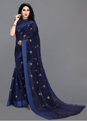 Cotton Blue Print Saree