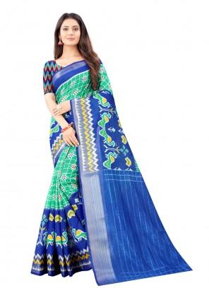 Cotton Blue Printed Saree For Festival