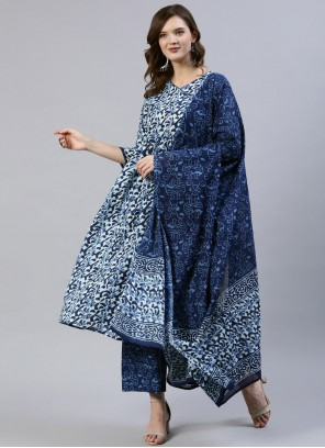 Cotton Blue Print Readymade Suit