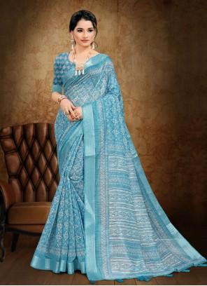 Cotton Blue Printed Saree