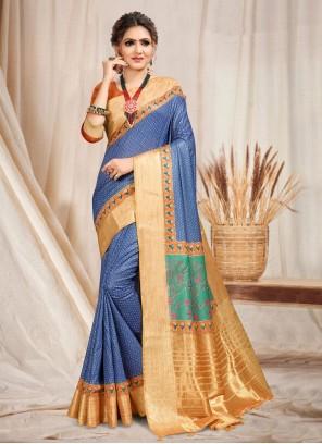 Cotton Blue Trendy Saree