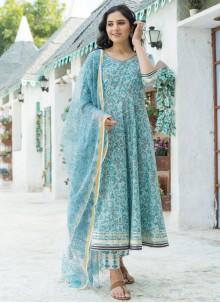 Cotton Bollywood Blue Salwar Kameez