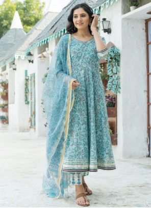 Cotton Bollywood Blue Salwar Kameez