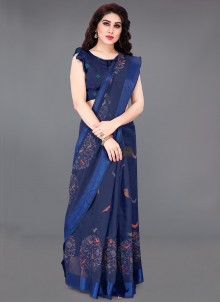 Blue Cotton Bollywood Saree
