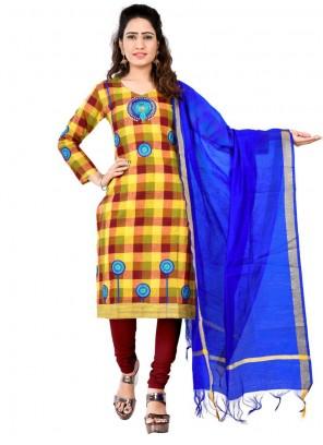 Cotton Brown and Yellow Designer Salwar Suit