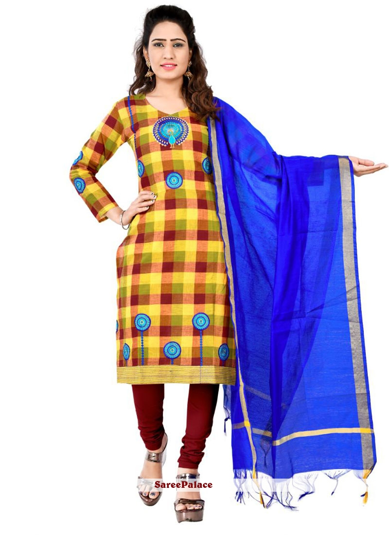 Cotton Brown and Yellow Designer Salwar Suit