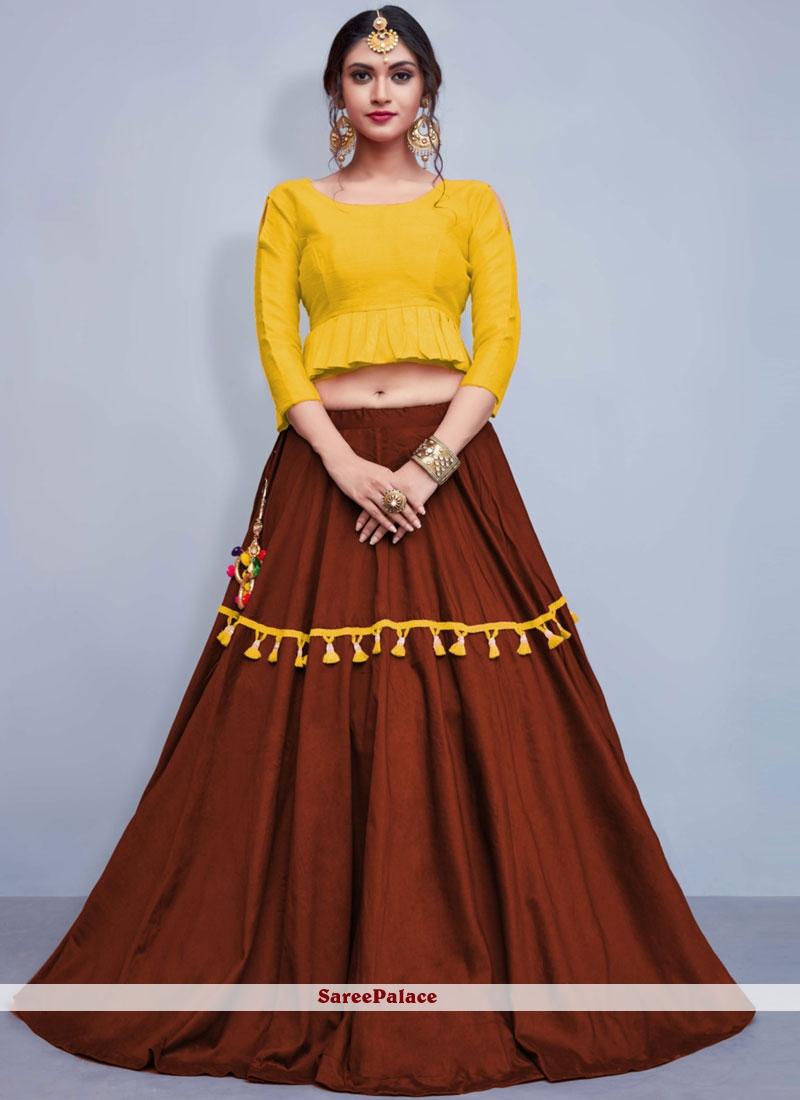 Cotton   Brown and Yellow Readymade Lehenga Choli