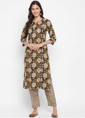 Cotton Brown Designer Kurti