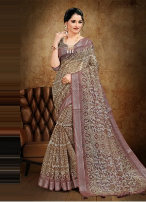 Cotton Brown Digital Printed Saree