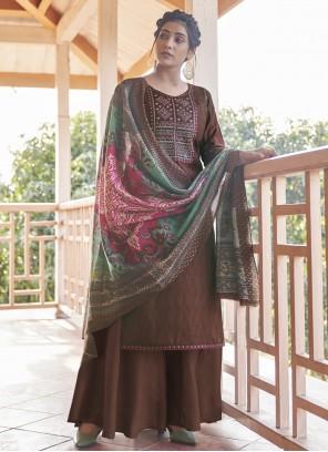 Cotton Brown Embroidered Designer Pakistani Suit