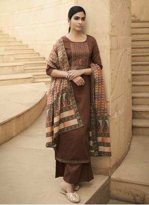 Cotton Brown Print Designer Palazzo Salwar Kameez