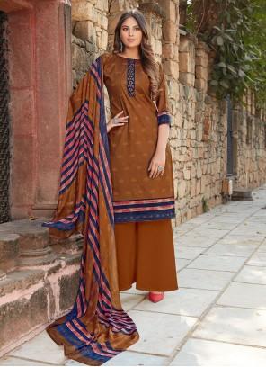 Cotton Brown Printed Designer Palazzo Suit