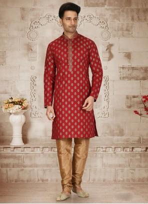 Cotton Butta Red Kurta Pyjama
