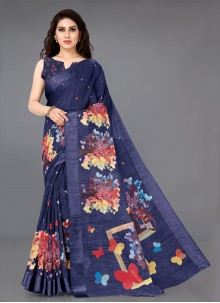 Cotton Casual Blue Bollywood Saree