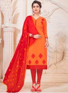 Orange Cotton Casual Churidar Suit