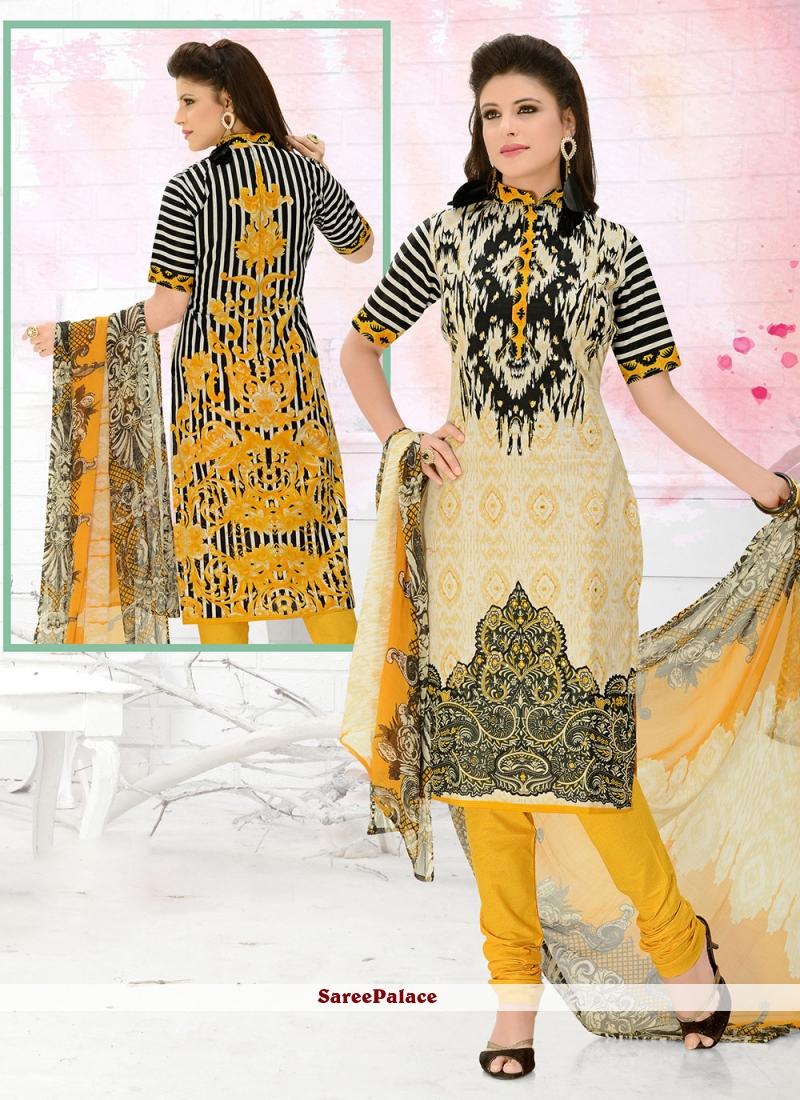 Multi Colour Cotton Casual Churidar Suit