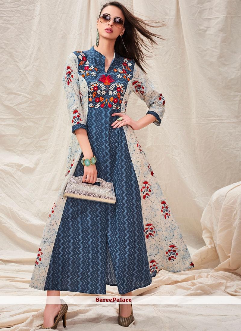 Blue Cotton Casual Designer Kurti