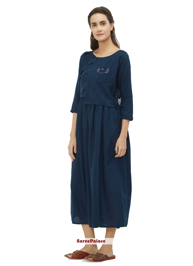 Cotton Casual Kurti in Navy Blue