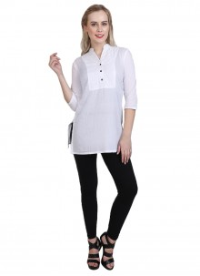 Cotton Casual Kurti in White
