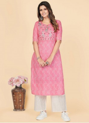 Pink Cotton Casual Party Wear Kurti