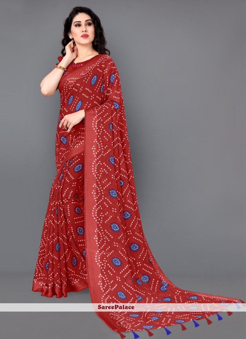 Red Cotton Casual Printed Saree