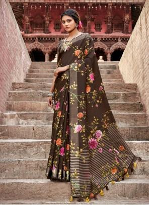 Cotton Casual Brown Printed Saree