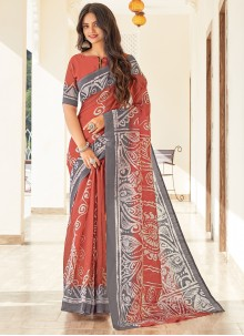 Printed Cotton Casual Saree in Rust