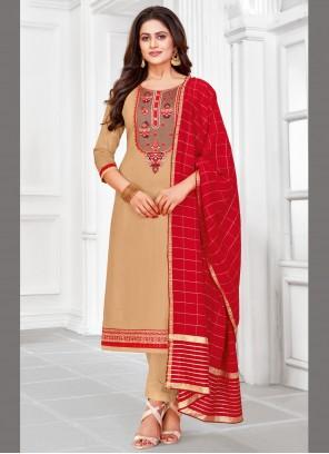 Beige Cotton Ceremonial Churidar Designer Suit