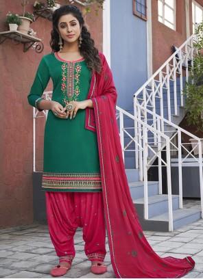 Cotton Ceremonial Green Designer Patiala Suit