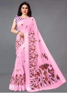 Pink Cotton Ceremonial Printed Saree