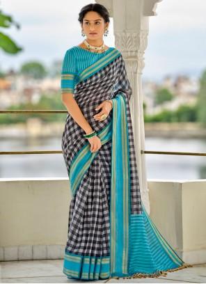Blue Cotton Checks Printed Saree