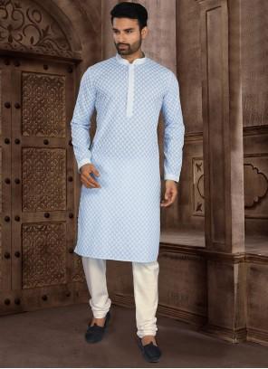 Cotton Chikankari Work Blue Kurta Pyjama