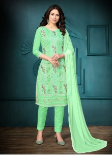 Sea Green Cotton Churidar Designer Suit