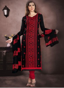 Cotton   Churidar Designer Suit in Black