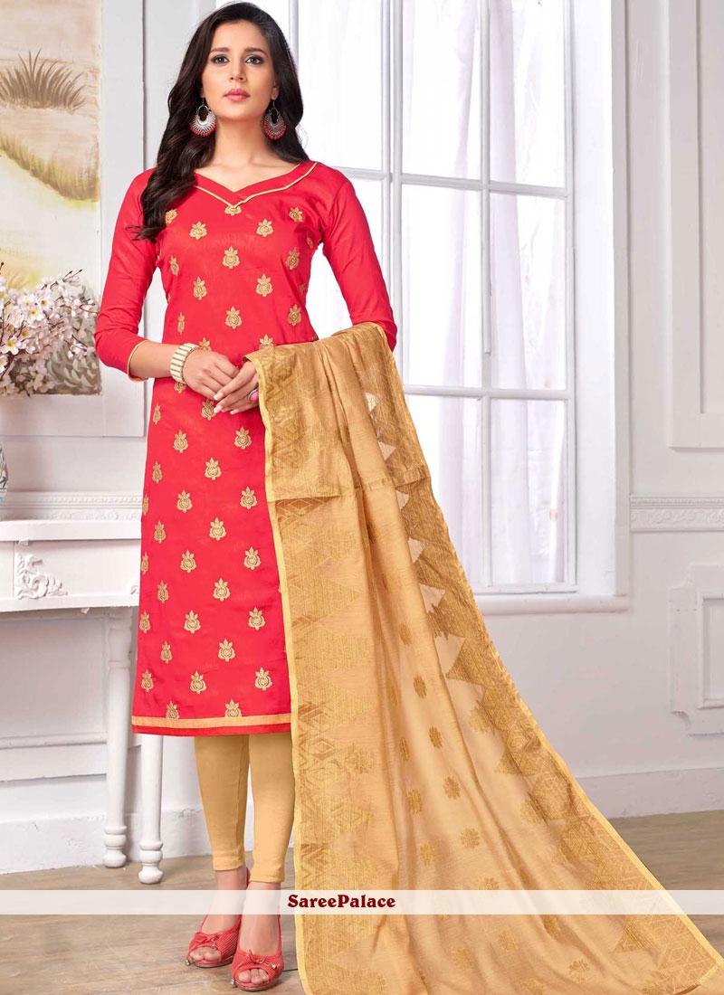 Cotton   Churidar Designer Suit in Pink
