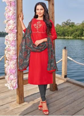 Cotton Churidar Designer Suit in Red