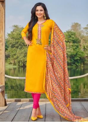 Cotton Yellow Churidar Suit