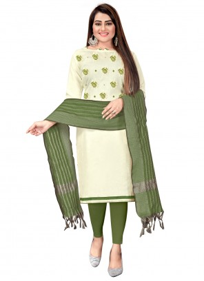 Off White And Green Cotton Churidar Suit