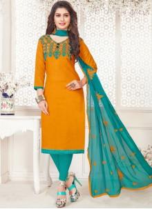 Cotton   Churidar Suit in Orange