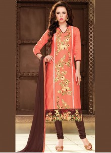 Cotton   Churidar Suit in Peach