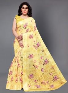 Yellow Cotton Classic Designer Saree