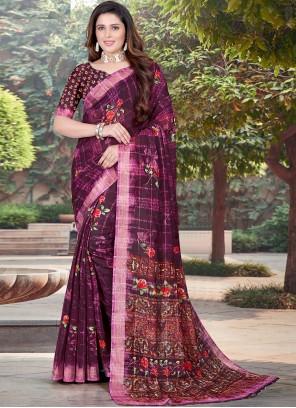Purple Cotton Classic Designer Saree